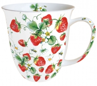 Porzellan-Tasse - Strawberries All Over White