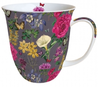 Porzellan-Tasse - Botanical Florals Grey