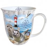 Porzellan-Tasse - Seal Couple