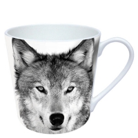 Porzellan-Henkelbecher Wolf