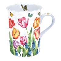 Porzellan-Tasse - Tulpen & Muscari