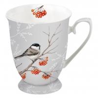 Porzellan-Tasse - Vogel auf Ast Grau