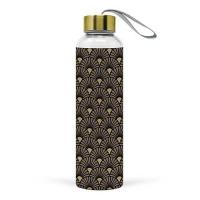 Glasflasche - Art Deco Black/Gold