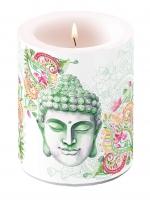 Dekorkerze - Buddha Kopf Grün