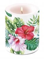Dekorkerze - Hibiskus Floral Weiß