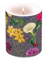 Dekorkerze - Botanical Florals Grey