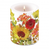 Dekorkerze - Sunny Flowers Cream