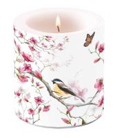 Dekorkerze klein Bird & Blossom White