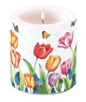 Dekorkerze klein - Tulips & Muscari