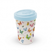 Bamboo mug To-Go - Colourful Butterflies