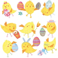 Servietten 25x25 cm - Easter Chicks White