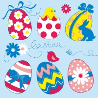 Servietten 33x33 cm - Easter Eggs Collection Blue