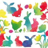 Servietten 33x33 cm - Easter Silhouettes Red