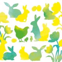 Servietten 33x33 cm - Easter Silhouettes Green