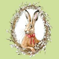 Servietten 33x33 cm - Bunny Portrait Green