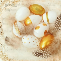 Servietten 33x33 cm - Golden Eggs