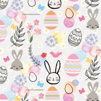 Servietten 33x33 cm - Happy Easter Grey