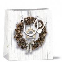 Geschenktasche 22x13x25 cm - Pine Cone Wreath