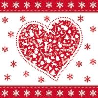 Cocktail Servietten CHRISTMAS HEART RED