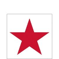 Servietten 25x25 cm - Stern Weiß/Rot