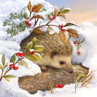 Cocktail Servietten Hedgehog In Snow