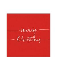Servietten 25x25 cm - Weihnachtsnotiz Rot