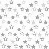 Servietten 25x25 cm - Stars All Over Silver