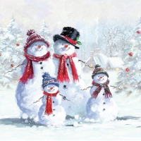 Servietten 25x25 cm - Snowman With Hat