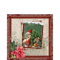 Servietten 25x25 cm - Santa Stamp