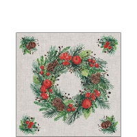 Servietten 25x25 cm - Wreath On Linen
