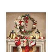 Servietten 25x25 cm - Wreath And Socks