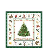Servietten 25x25 cm - Christmas Evergreen White