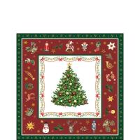 Servietten 25x25 cm - Christmas Evergreen Red
