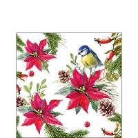Servietten 25x25 cm - Bird On Poinsettia White