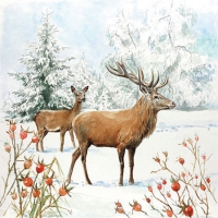 Servietten 25x25 cm - Deer In Snow