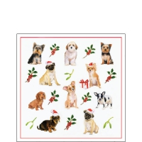 Servietten 25x25 cm - Christmas Dogs