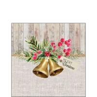 Servietten 25x25 cm - Christmas Bells