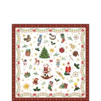 Servietten 25x25 cm - Ornaments All Over Red
