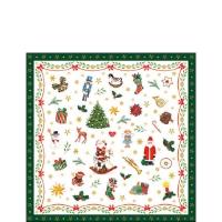 Servietten 25x25 cm - Ornaments All Over Green