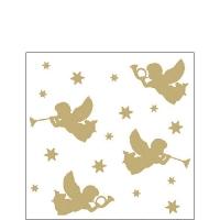 Servietten 25x25 cm - Trumpet Angels Gold