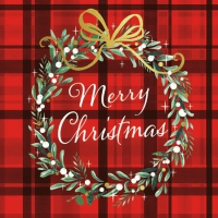 Servietten 25x25 cm - Christmas Plaid Red