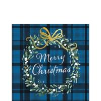 Servietten 25x25 cm - Christmas Plaid Blue
