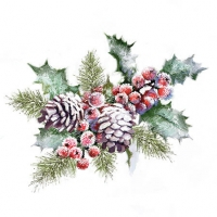 Servietten 25x25 cm - Holly And Berries