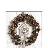 Servietten 25x25 cm - Pine Cone Wreath