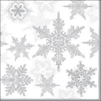 Servietten 33x33 cm - Snow Crystals Silver