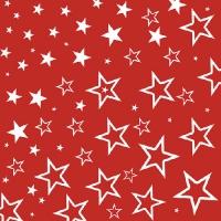 Servietten 33x33 cm - Starry Sky Red