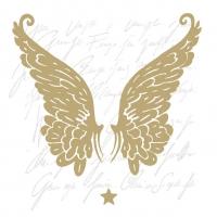 Servietten 33x33 cm - Wings Gold
