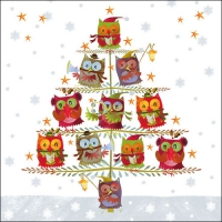 Servietten 33x33 cm - Christmas Tree with Owls