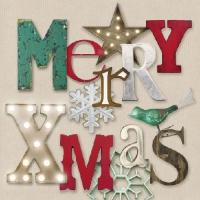 Servietten 33x33 cm - Glänzende Weihnachts-Creme