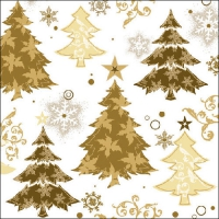 Servietten 33x33 cm - Design Trees Gold